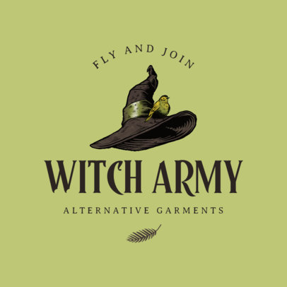 Clothing Brand Logo Template Featuring a Witch Hat Clipart 4406a