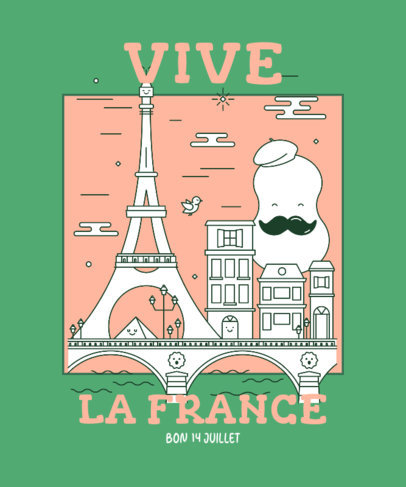 T-Shirt Design Creator for Bastille Day Featuring an Illustrated Paris Scenery 3769a