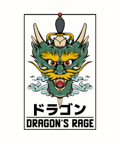 Dragon-Themed T-Shirt Design Creator with a Japanese Tattoo Style 4057c-el1