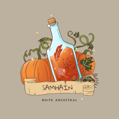 Wiccan-Inspired Logo Generator with a Pumpkin-Themed Graphic 4408g