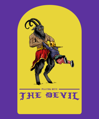 T-Shirt Design Generator with a Funny Graphic of the Devil Playing with a Girl 3763c