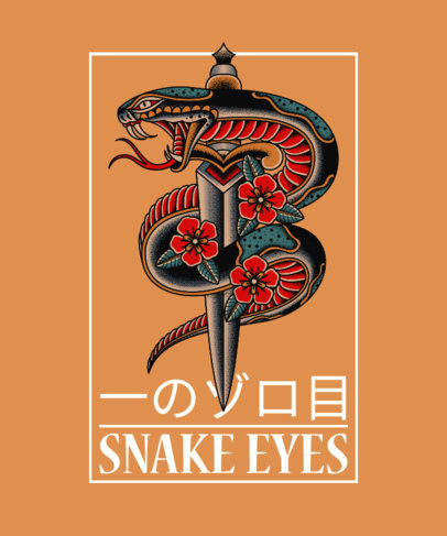 T-Shirt Design Generator with a Tattoo-Styled Illustration of a Snake and a Dagger 4057d-el1
