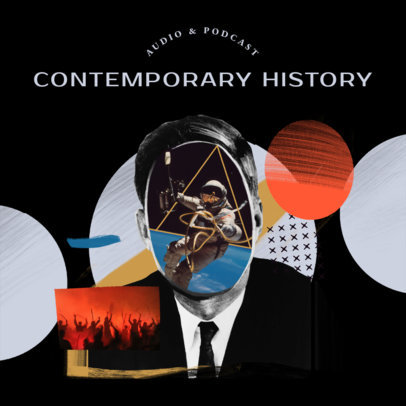 Contemporary History Podcast Cover Template Featuring a Surreal Collage 4411n
