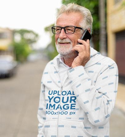 Full-Zip Hoodie Mockup of an Elderly Man Talking on the Phone 40036-r-el2