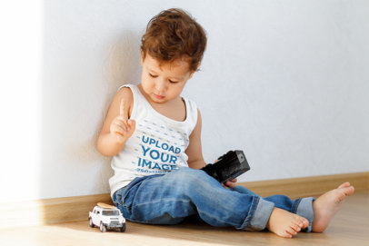 Tank Top Mockup of a Boy Playing With Toy Cars 46252-r-el2