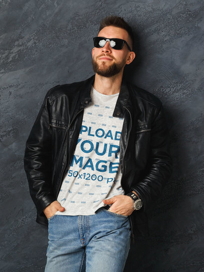 Heather T-Shirt Mockup of a Serious Man With Sunglasses 45708-r-el2