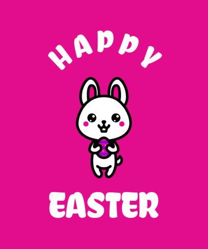 Easter T-Shirt Design Template With a Kawaii Bunny Cartoon 37d