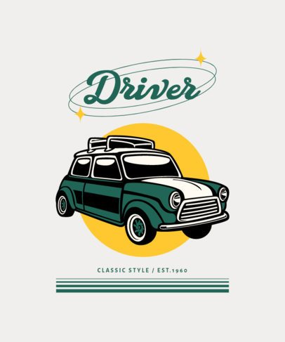 T-Shirt Design Template Featuring Illustrations of Vintage Cars 4100-el1