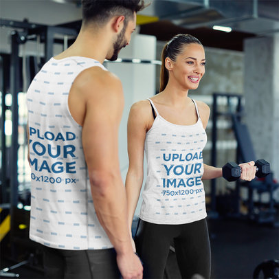 Tank Top and Sleeveless Shirt Mockup Featuring a Woman and Her Trainer at the Gym 42219-r-el2