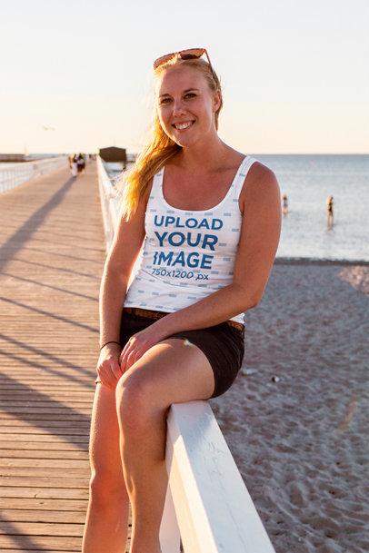 Tank Top Mockup of a Blonde Woman Posing in a Pier 45802-r-el2