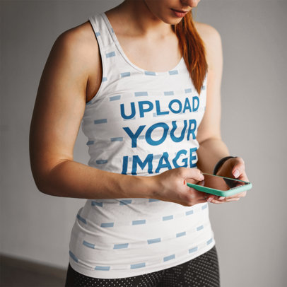 Mockup of a Woman Training in a Sublimated Tank Top 45614-r-el2