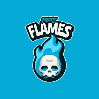 Cartoonish Logo Maker for Gamers Featuring a Skull and Flame Graphics 4112c-el1