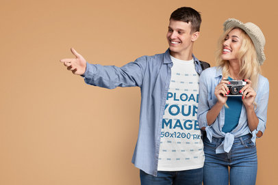 T-Shirt Mockup Featuring a Young Man Posing With His Girlfriend at a Studio 46511-r-el2