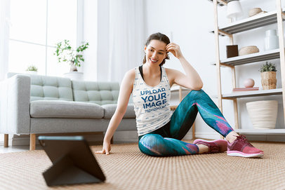 Tank Top Mockup of a Woman Training in Her Living Room 42067-r-el2