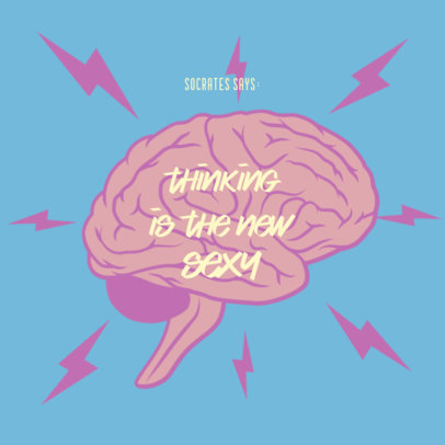 Podcast Cover Template With a Philosophy Theme and a Brain Graphic 4415g