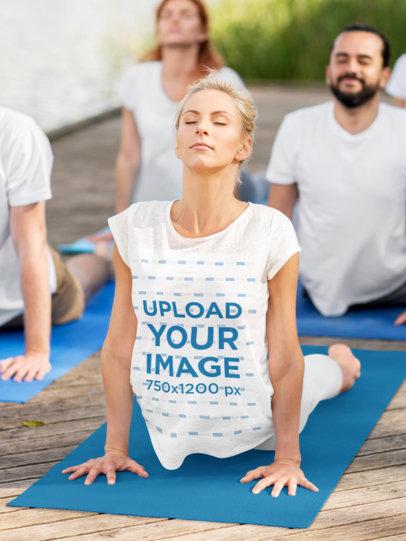 T-Shirt Mockup of a Woman at an Outdoor Yoga Class 42292-r-el2