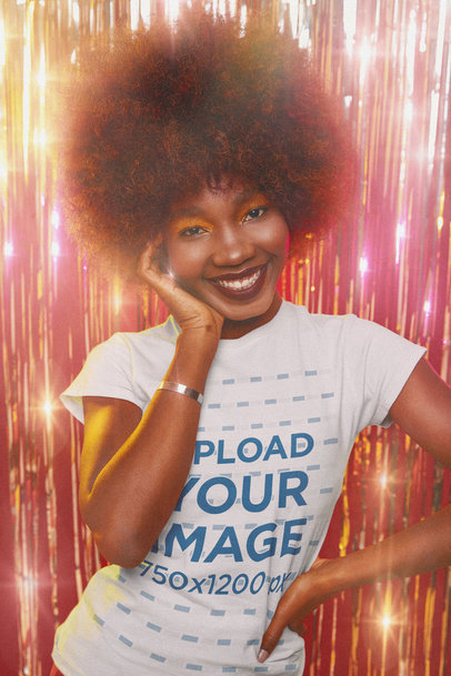 T-Shirt Mockup of a Happy Woman in a Disco Setting m10116