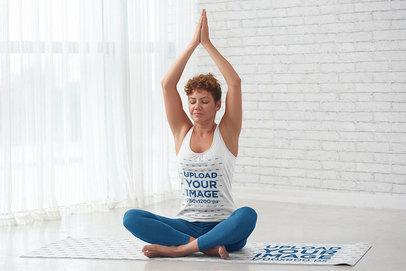 Tank Top Mockup of a Female Yogi Doing a Pose in a Yoga Mat 44499-r-el2