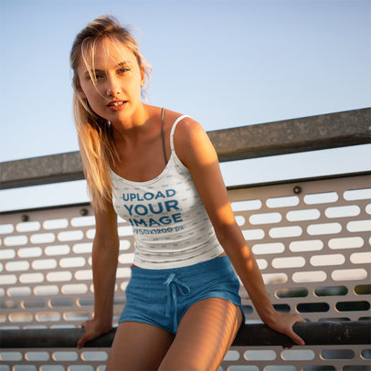 Mockup Featuring a Young Woman Wearing a Sublimated Camisole Tank Top 40774-r-el2