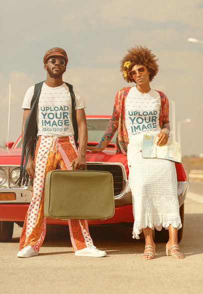 T-Shirt Mockup of a Couple with 70's Outfits Doing a Road Trip M10493