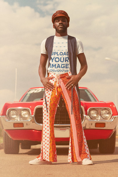 70's Themed Mockup Featuring a Man Posing in Front of a Classic Car m10484