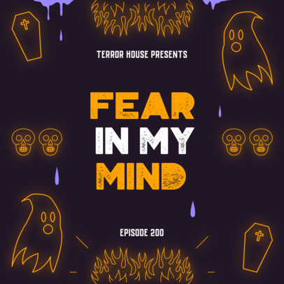 Spooky Podcast Cover Template Featuring Ghost Graphics 4429d