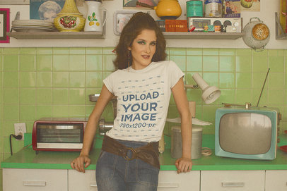 T-Shirt Mockup of a Woman Posing in a Vintage Kitchen m10535