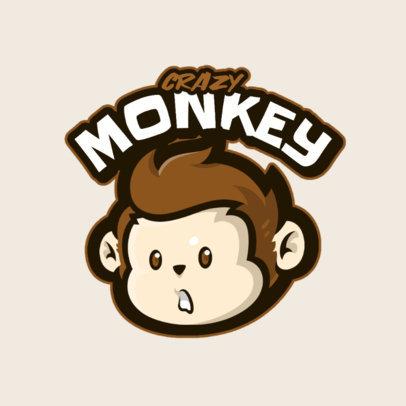 Gaming Logo Template Featuring a Cute Monkey Clipart 4108b-el1