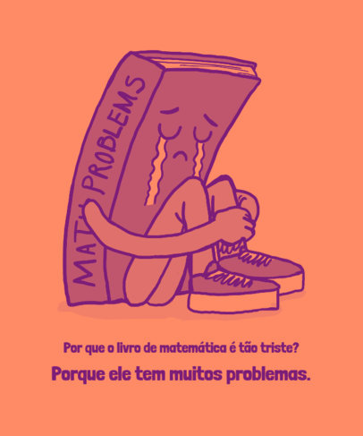 Math-Themed T-Shirt Design Creator With a Clever Quote in Portuguese 3795d