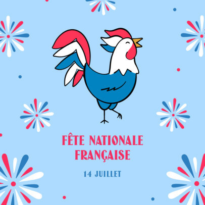 Bastille Day-Themed Instagram Post Maker Featuring a Rooster Icon 3772a
