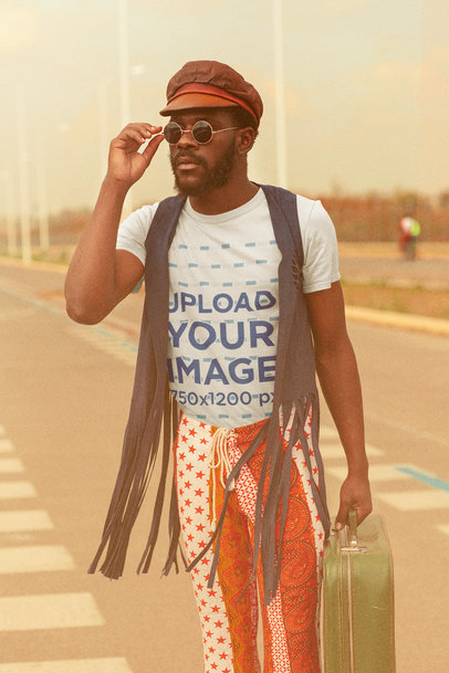 T-Shirt Mockup of a Man Wearing a Groovy 70s Style Outfit m10486