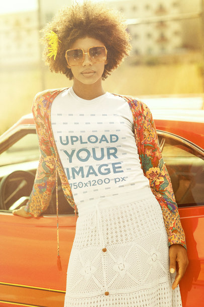 T-Shirt Mockup of a Woman Leaning Against a Classic Automobile m10503