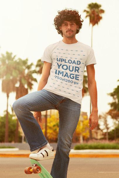 Retro T-Shirt Mockup of a Man on a Skateboard m10122