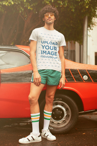 T-Shirt Mockup of a Man with a 70's Summer Outfit m10124