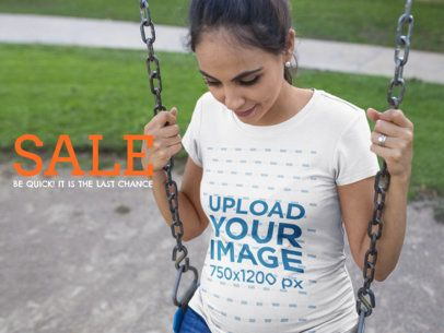 Facebook Ad - Pregnant Woman in a Swing Wearing a Tshirt a16327
