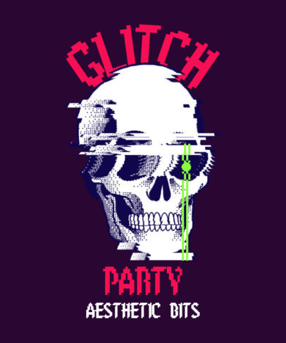 T-Shirt Design Template With Skull Graphics and a Glitchy Aesthetic 3813