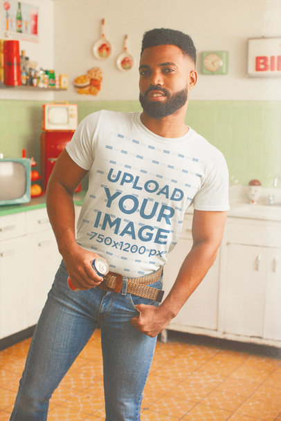 T-Shirt Mockup of a Bearded Man in a Retro Kitchen M10523