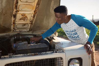 Raglan Shirt Mockup of a Man Fixing His Truck 41474-r-el2