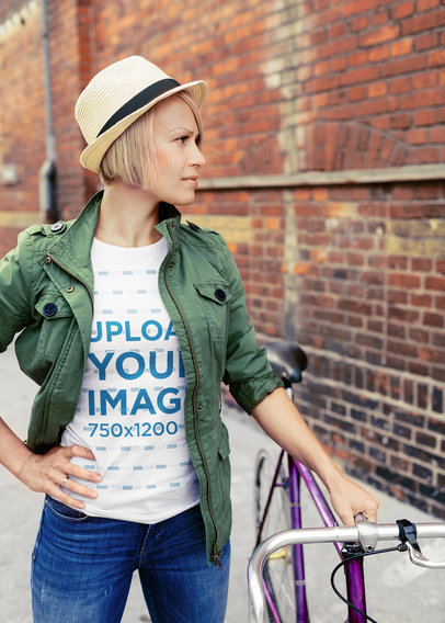 T-Shirt Mockup of a Woman Standing Next to Her Bicycle 42458-r-el2