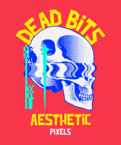T-Shirt Design Creator With 8-Bit Glitches and a Skull Graphic 3813c
