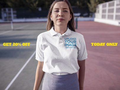 Facebook Ad - Girl Wearing Polo Shirt in a Tennis Court a15721