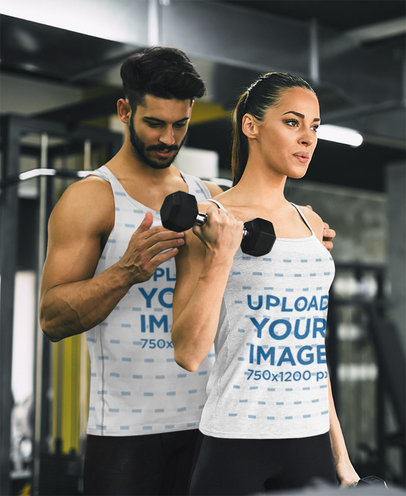 Tank Top Mockup of A Woman Training with Her Coach at the Gym 46917-r-el2