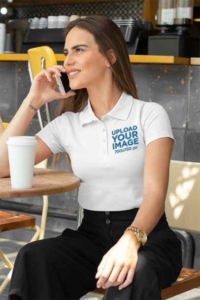 Polo Shirt Mockup of a Woman Talking on the Phone at an Outdoor Restaurant 33544a