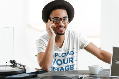 T-Shirt Mockup of a Man With Glasses Talking on the Phone 39984-r-el2