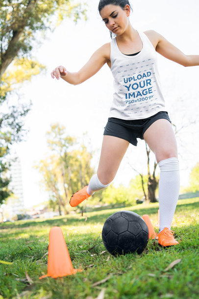 Tank Top Mockup of a Soccer Player Focused on Her Training 42279-r-el2