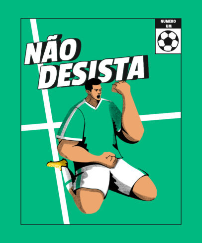 Soccer-Themed T-Shirt Design Maker With a Portuguese Quote 4128d