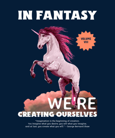 T-Shirt Design Maker With a Fantasy Theme and a Unicorn Illustration 4447f