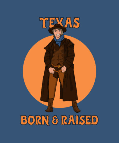 T-Shirt Design Template Featuring a Smiling Cowboy Character 3819b