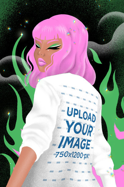 Sweatshirt Mockup Featuring an Illustrated Woman Surrounded by Flames 3804