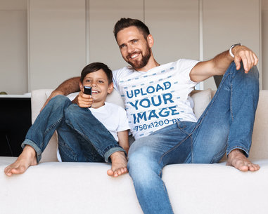 T-Shirt Mockup of a Man Watching TV With His Son 38199-r-el2